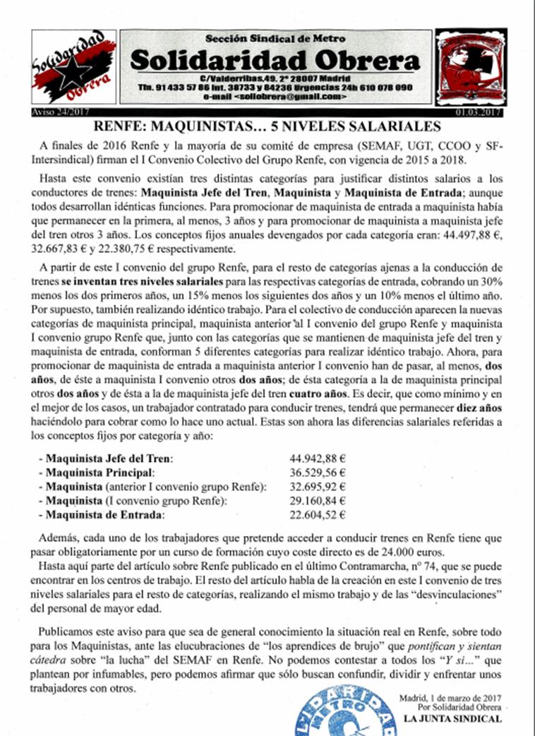 Aviso 24 2017 RENFE: MAQUINISTAS… 5 NIVELES SALARIALES