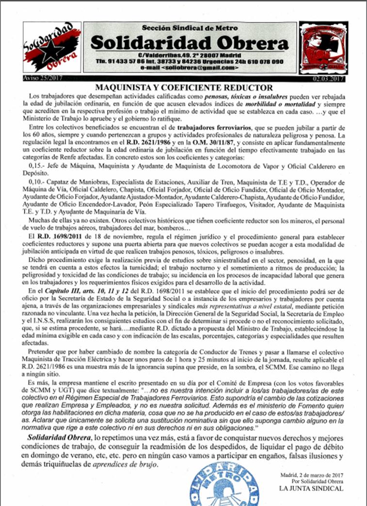 Aviso 25 2017 MAQUINISTA Y COEFICIENTE REDUCTOR