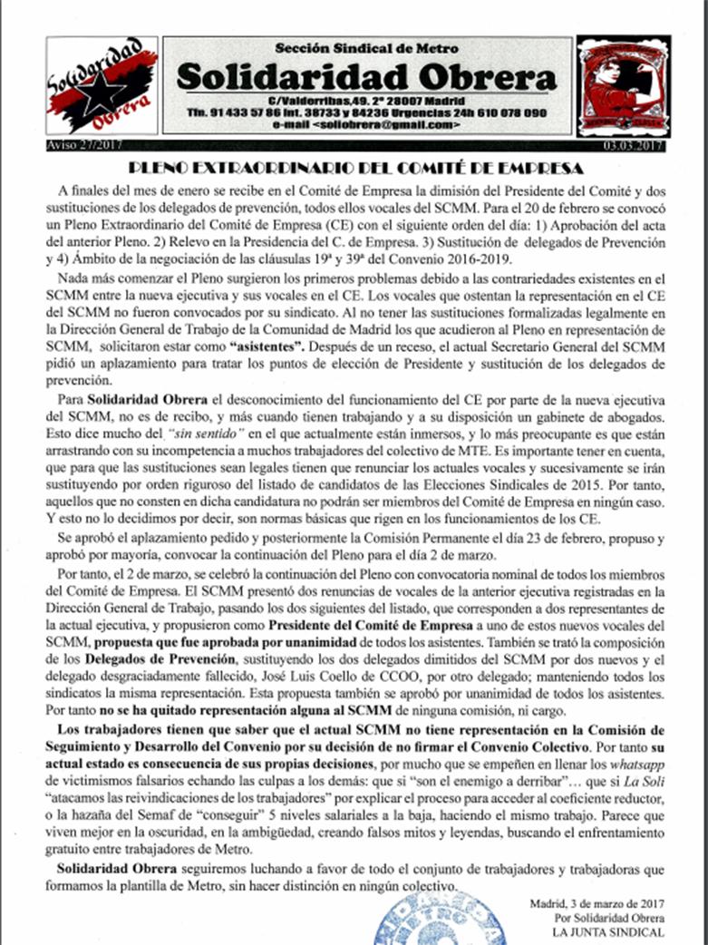 Aviso 27 2017 PLENO EXTRAORDINARIO DEL COMITÉ DE EMPRESA