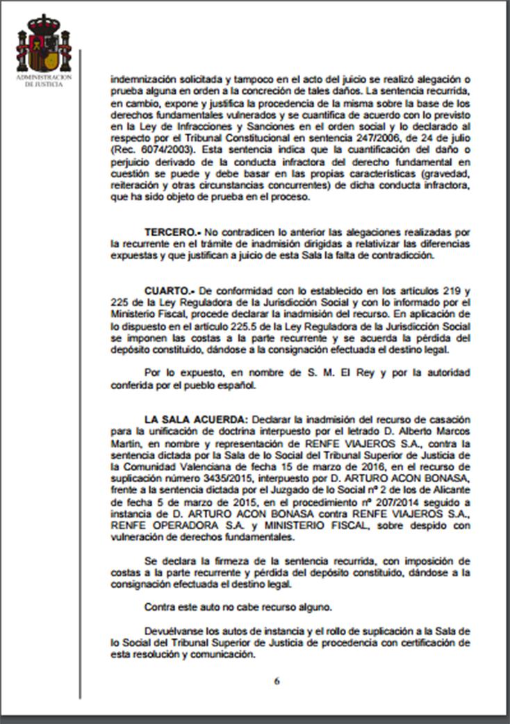 GANADA DEFINITIVAMENTE LA READMISIÓN DEL COMPAÑERO ARTURO ACÓN EN RENFE