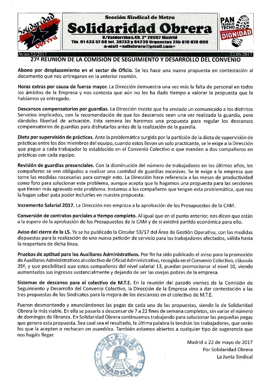 Aviso 52. 27ª REUNIÓN DE LA COMISIÓN DE SEGUIMIENTO Y DESARROLLO DEL CONVENIO