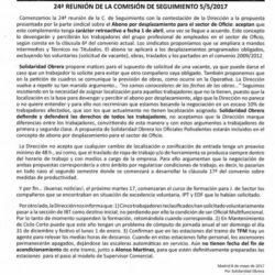 Aviso 46 2017 Sección Metro 24ª REUNIÓN DE LA COMISIÓN DE SEGUIMIENTO 5/5/2017
