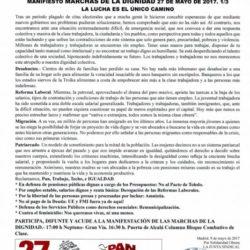 Aviso 472017 Seción Sindical de Metro MANIFIESTO MARCHAS DE LA DIGNIDAD 27 DE MAYO DE 2017. 1/3