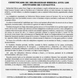 COMUNICADO ANTE LOS ANTENTADOS EN CATALUNYA