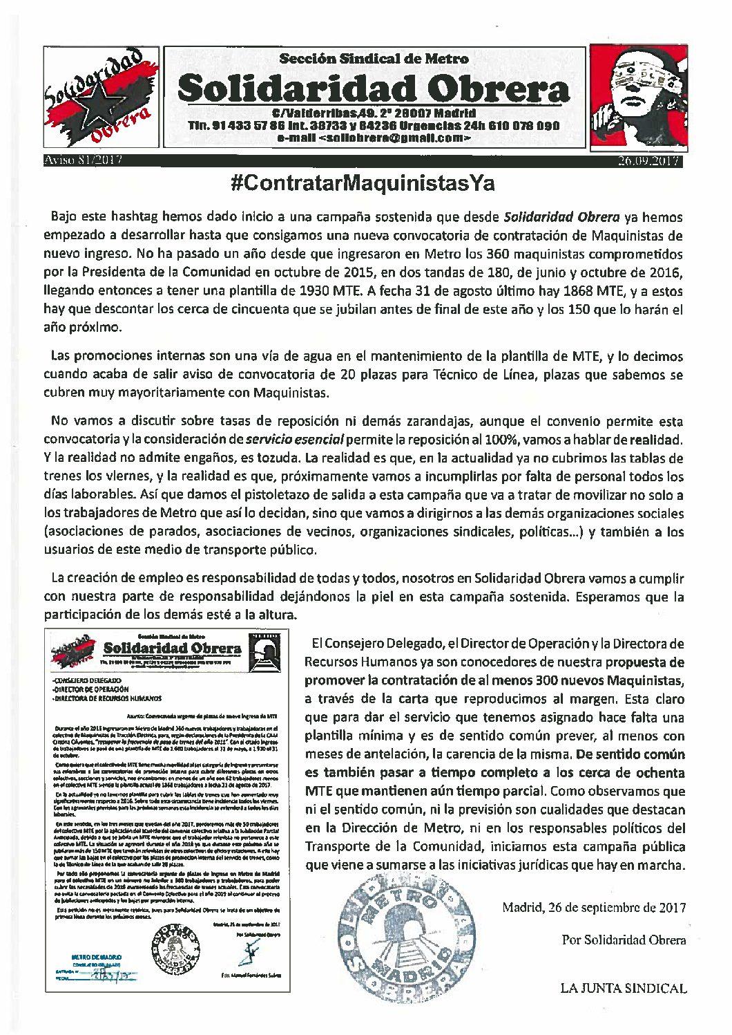 Aviso 81/2017 MetroMadrid – CREACIÓN DE EMPLEO MAQUINISTAS