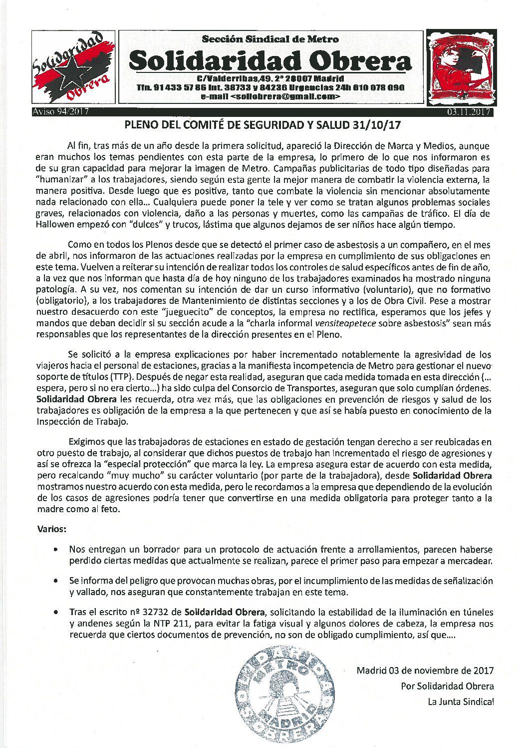 Aviso 94/2017 PLENO DEL COMITÉ DE SEGURIDAD Y SALUD 31/10/17